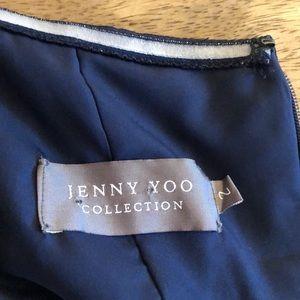 Jenny Yoo Dresses - Navy strapless chiffon floor length dress